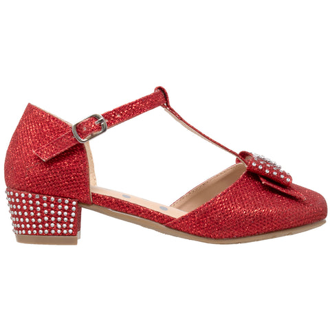 Kids Dress Shoes T-Strap Bow Accent Glitter Rhinestone Mary Jane Pumps Red