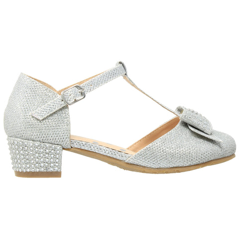 Kids Dress Shoes T-Strap Bow Accent Glitter Rhinestone Mary Jane Pumps Silver