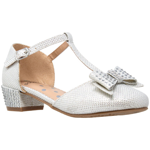Kids Dress Shoes T-Strap Bow Accent Glitter Rhinestone Mary Jane Pumps White