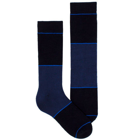 Men's Socks Color Block Striped Athletic Performance Comfortable Mid Calf Crew Socks Blue