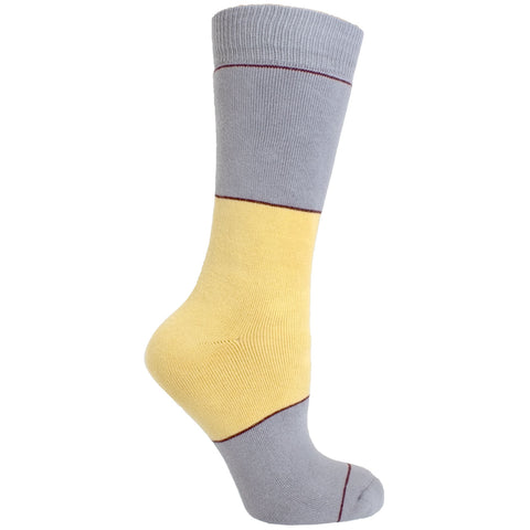 Men's Socks Color Block Striped Athletic Performance Comfortable Mid Calf Crew Socks Yellow