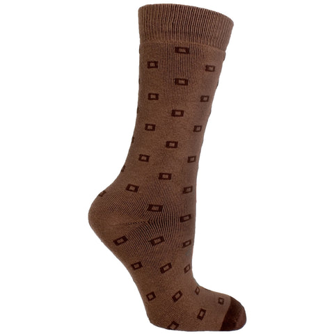 Men's Socks Athletic Sport Performance Durable Square Dot Pattern Mid Calf Crew Socks Taupe