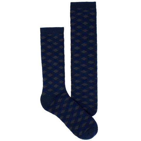 Men's Socks Athletic Performance Sport Checkered Plaid Mid Calf Crew Socks Blue