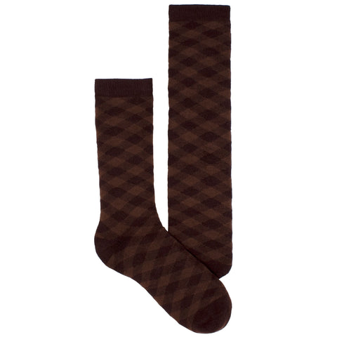 Men's Socks Athletic Performance Sport Gingham Plaid Mid Calf Crew Socks Brown