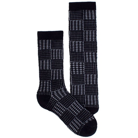 Men's Socks Athletic Performance Sport Houndstooth Mid Calf Crew Socks Black