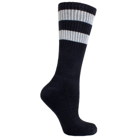Men's Socks Solid Stripe Athletic Performance Sport Ribbed Mid Calf Crew Socks Gray