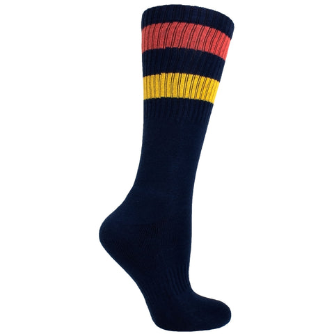Men's Socks Solid Stripe Athletic Performance Sport Ribbed Mid Calf Crew Socks Navy