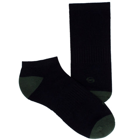 Men's Socks Athletic Performance Comfortable Colorblock No Show Cotton Hosiery Green