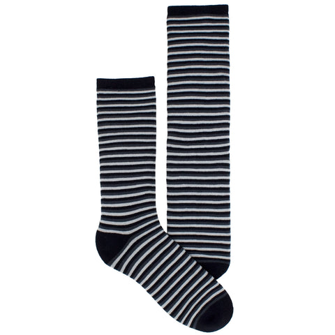 Men's Socks Athletic Performance Hosiery Thin Stripe Mid Calf Crew Socks Black
