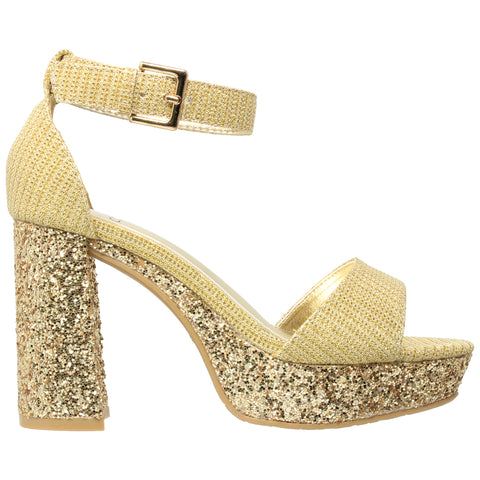 Womens Platform Sandals Glitter Accent Ankle Strap Chunky Block Heel Shoes Gold