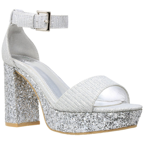 Silver Platform Strap Heel Womens Chunky Block Ankle Glitter Shoes Sandals Accent doWBeCrx