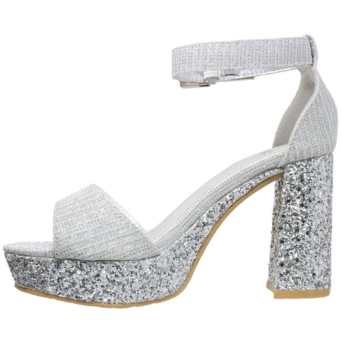 98fb9a2ef1 Womens Platform Sandals Glitter Accent Ankle Strap Chunky Block Heel Shoes  Silver