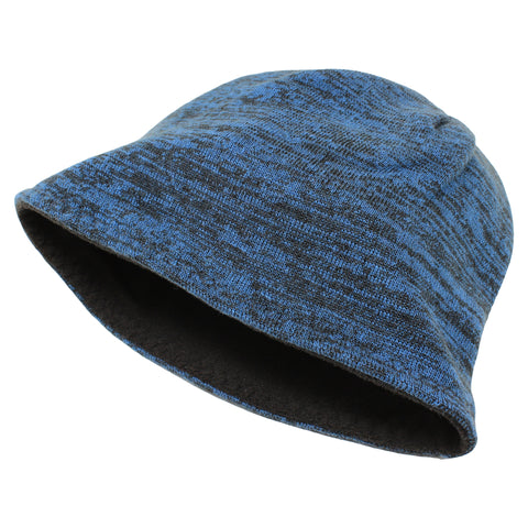 Unisex Reversible Beanie Two-Tone Inner Micro-Fleece Blue / Black SOBEYO