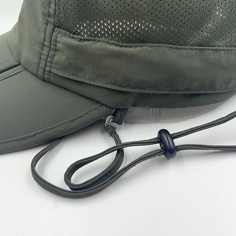 Men's Outdoor Snap Hats Fishing Hiking Boonie Hunting Brim Ear Neck Cover Sun Flap Cap Navy SOBEYO