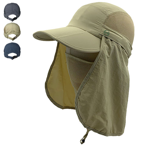Men's Outdoor Snap Hats Fishing Hiking Boonie Hunting Brim Ear Neck Cover Sun Flap Cap Khaki SOBEYO