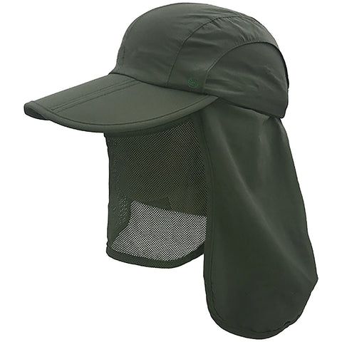 unisex Outdoor Snap Hats Fishing Hiking Boonie Hunting Brim Ear Neck Cover Sun Flap Cap Dark Grey SOBEYO