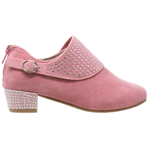 Kids Ankle Boots Rhinestone Crystal Accent Block Heel Booties Pink