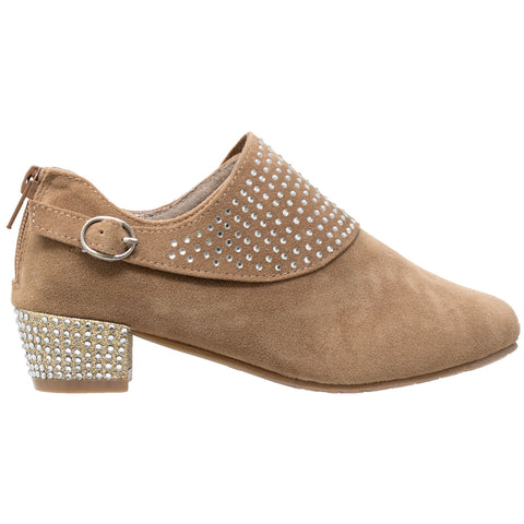 Kids Ankle Boots Rhinestone Crystal Accent Block Heel Booties Tan