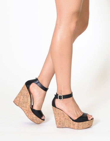 Womens Platform Sandals Ankle Strap Embroidered  Cork Heel Wedges Black