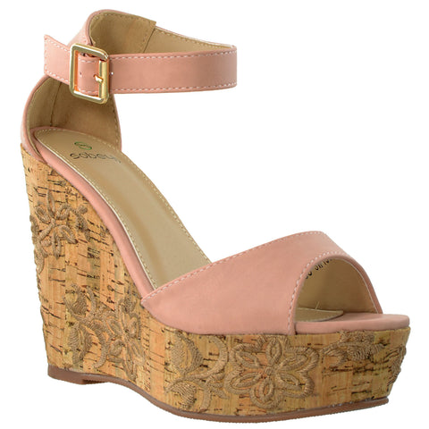 Womens Platform Sandals Ankle Strap Embroidered  Cork Heel Wedges PINK