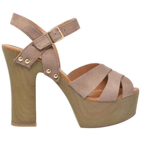 Womens Platform Sandals Strappy Open Toe Studded Wood Chunky High Heel Shoes Taupe
