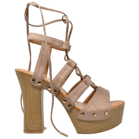 Womens Platform Sandals Gold Studded Lace Up Wood Chunky High Heel Shoes Taupe
