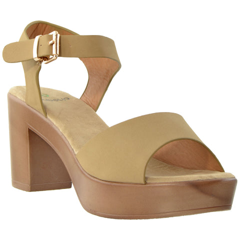 Womens Platform Sandals Ankle Strap Open Toe Chunky Block Heel Shoes Taupe