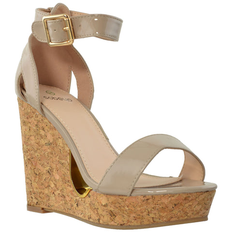 Womens Platform Sandals Ankle Strap Cork Wedge Open Toe Casual Shoes Beige