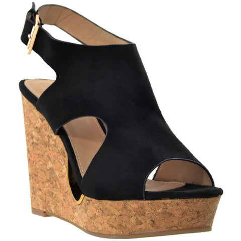 Womens Platform Sandals Slingback Peep Toe Cutout Cork Wedge Shoes Black