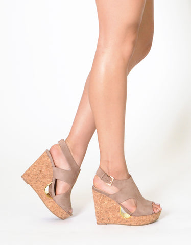 Womens Platform Sandals Slingback Peep Toe Cutout Cork Wedge Shoes Taupe