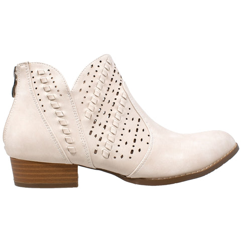 Womens Ankle Boots Western Block Heel Bootie Perforated Cutout Shoes Beige