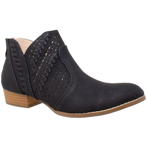 Womens Ankle Boots Western Block Heel Bootie Perforated Cutout Shoes Black