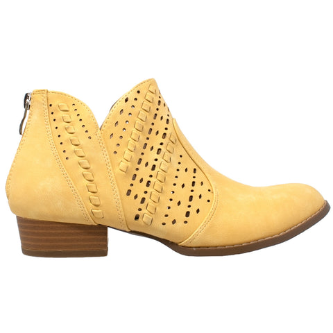 Womens Ballet Flats Western Block Heel Bootie Perforated Cutout Shoes Yellow