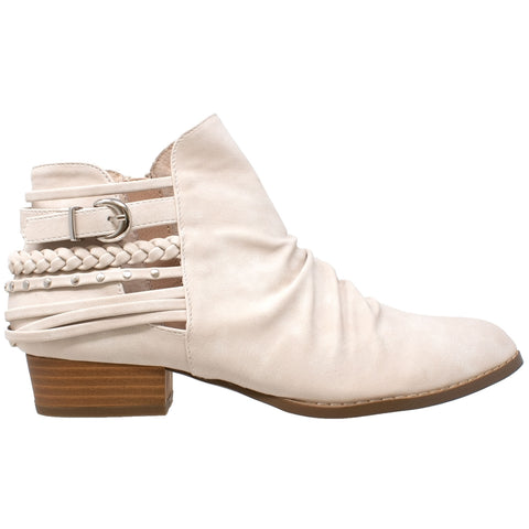 Womens Ankle Boots Western Block Heel Bootie Strappy Stud Buckle Shoes Beige