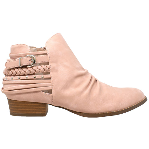 Womens Ankle Boots Western Block Heel Bootie Strappy Stud Buckle Shoes Pink