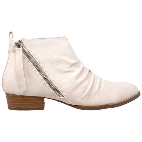 Womens Ankle Boots Western Block Heel Bootie Zipper Tassel Accent Shoes Beige