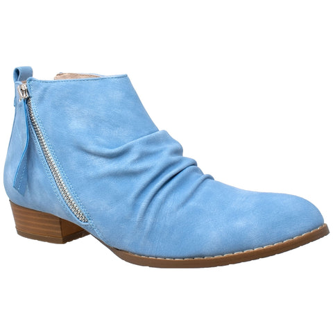 Womens Ankle Boots Western Block Heel Bootie Zipper Tassel Accent Shoes Blue