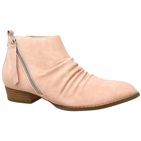 Womens Ankle Boots Western Block Heel Bootie Zipper Tassel Accent Shoes Pink