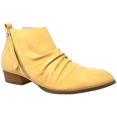 Womens Ankle Boots Western Block Heel Bootie Zipper Tassel Accent Shoes Yellow