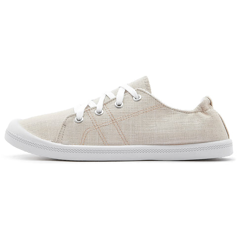 SOBEYO Women's Sneakers Canvas Lace-Up Low Top Ankle Padded Shoes Beige