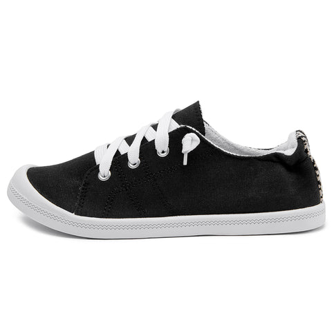 SOBEYO Women's Sneakers Canvas Lace-Up Low Top Ankle Padded Shoes Black