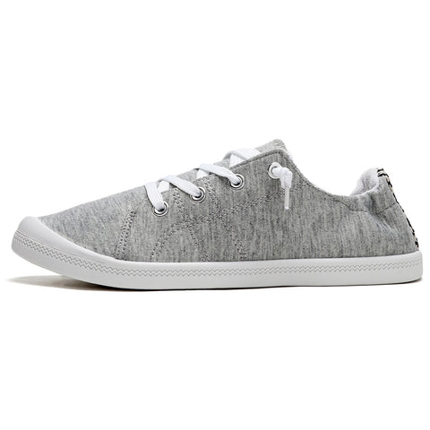 SOBEYO Women's Sneakers Canvas Lace-Up Low Top Ankle Padded Shoes Gray