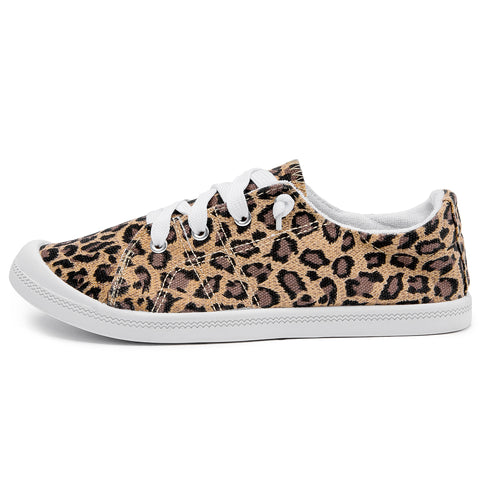 SOBEYO Women's Sneakers Canvas Lace-Up Low Top Ankle Padded Shoes Leopard