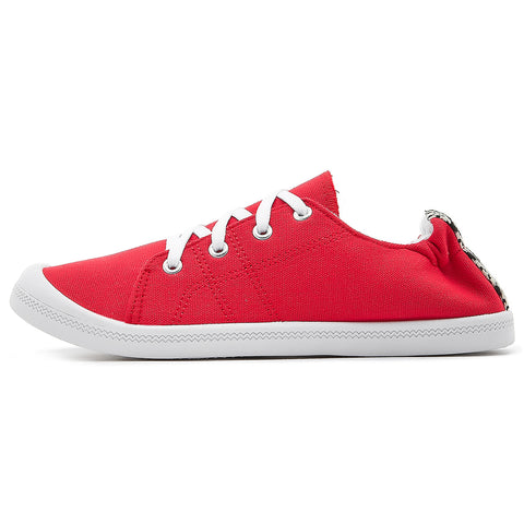 SOBEYO Women's Sneakers Canvas Lace-Up Low Top Ankle Padded Shoes Red
