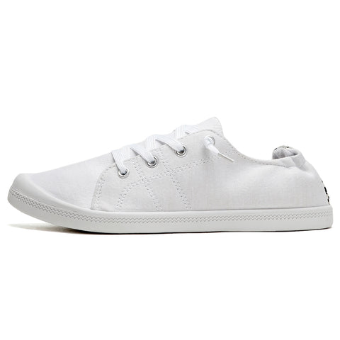 SOBEYO Women's Sneakers Canvas Lace-Up Low Top Ankle Padded Shoes White