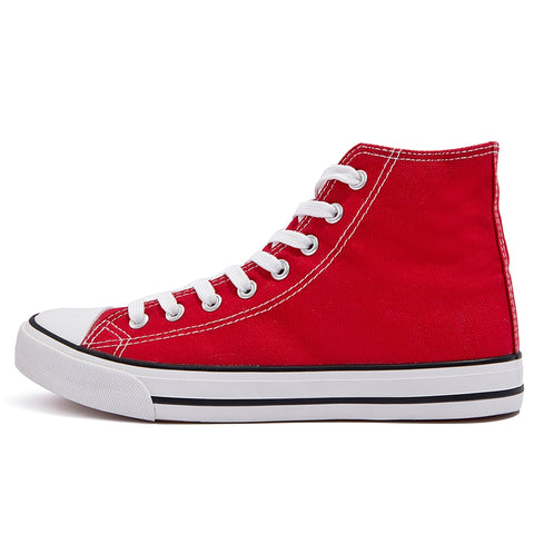 SOBEYO Women's Sneakers Canvas Lace Up High Top Casual Comfort Shoes Red