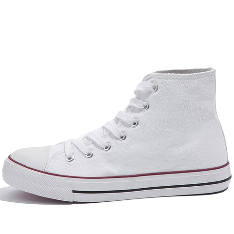 SOBEYO Women's Sneakers Canvas Lace Up High Top Casual Comfort Shoes White