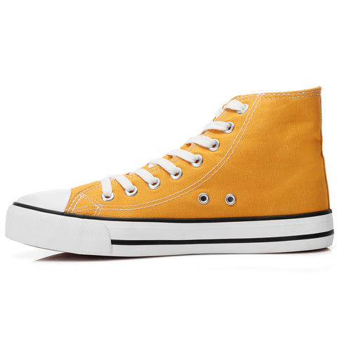 SOBEYO Women's Sneakers Canvas Lace Up High Top Casual Comfort Shoes Yellow
