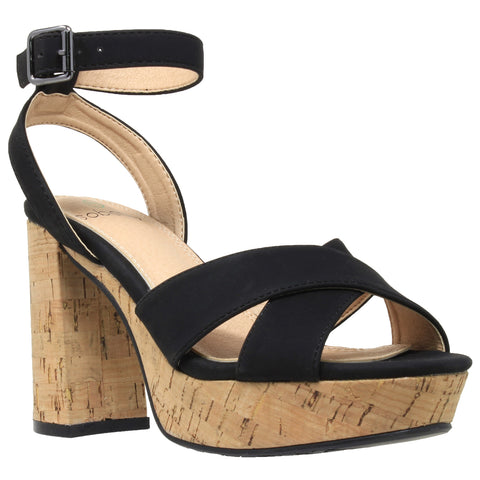Womens Platform Sandals Ankle Strap Wrapped Cork Chunky Block Heel Shoes Black
