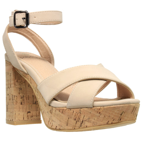 Womens Platform Sandals Ankle Strap Wrapped Cork Chunky Block Heel Shoes Taupe